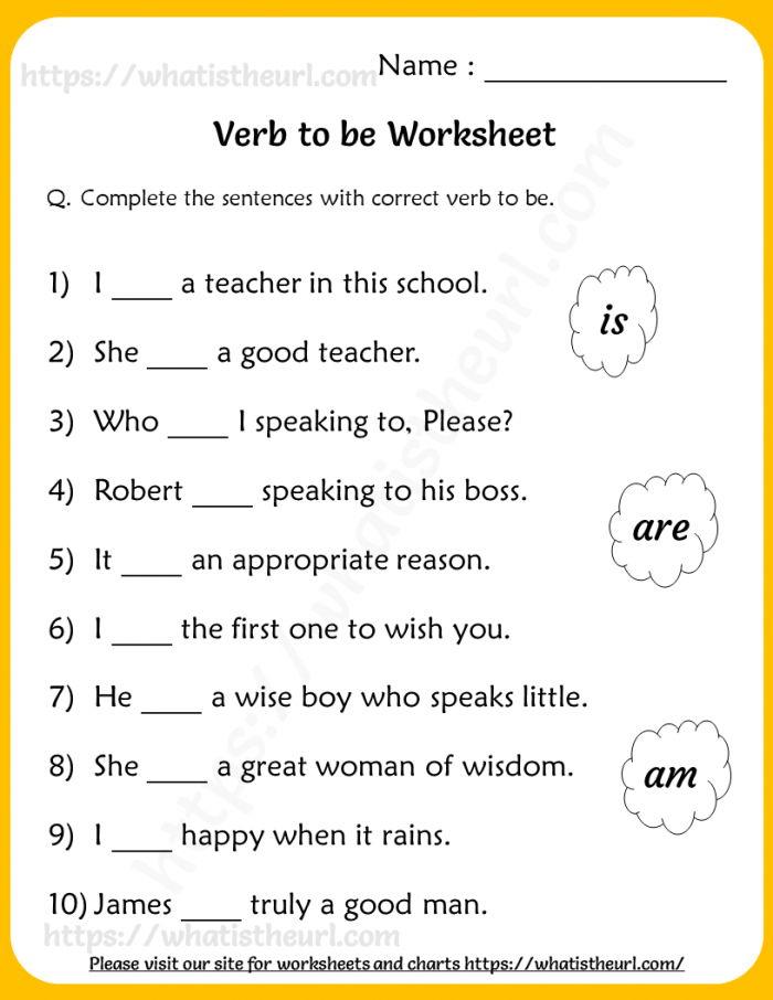 Verb To Be Worksheets For Grade