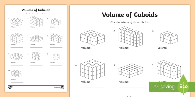 Volume Of Cuboids Activity