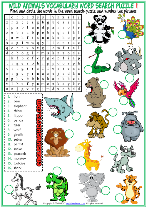 Wild Animals Esl Printable Word Search Puzzle Worksheets
