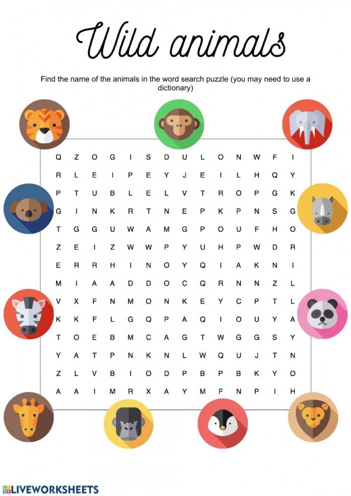 Wild Animals Wordsearch Worksheet