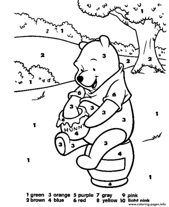 Winnie The Pooh Color By Number Coloring Pages Printable