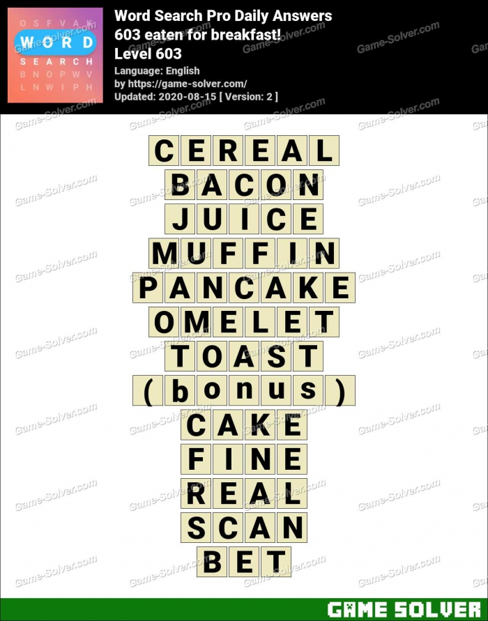 Word Search Pro Eaten For Breakfast Answers Game Solver