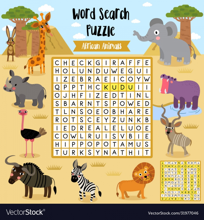Word Search Puzzle African Animals Royalty Free Vector Image