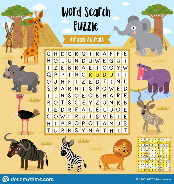 Word Search Puzzle African Animals Stock Vector