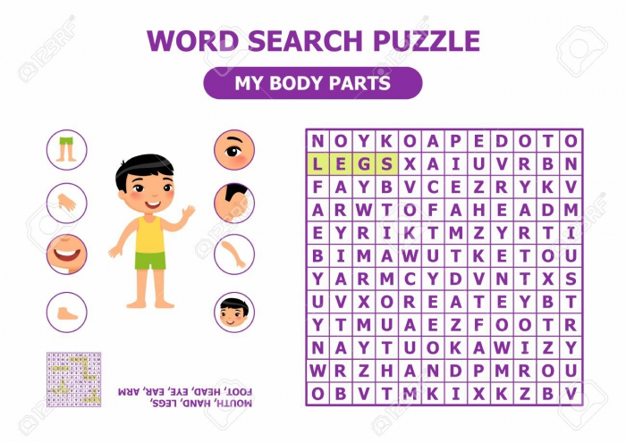 Word Search Puzzle My Body Parts