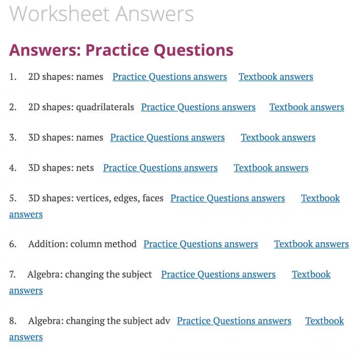 Worksheet Answers Corbettmaths