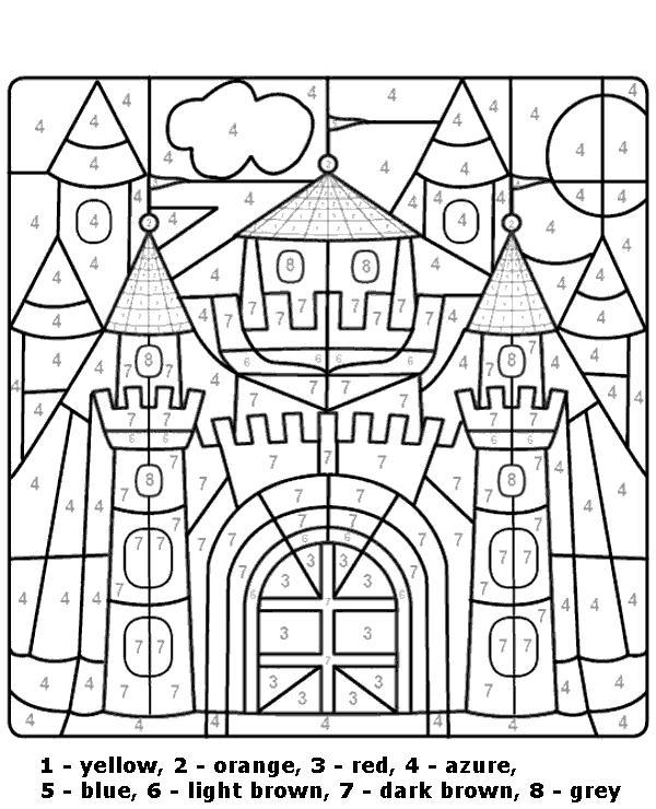 Worksheet Color By Number Castle