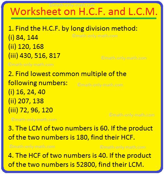 Worksheet On Hcf And Lcm