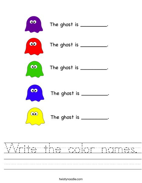Write The Color Names Worksheet