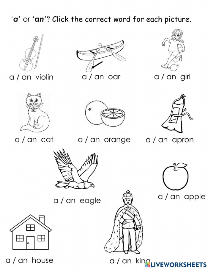 A Or An Online Exercise For Kindergarten