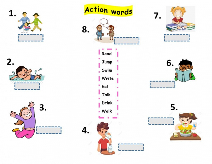 Action Words Exercise For Grade