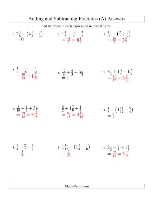 Adding And Subtracting Fractions With Three Terms A