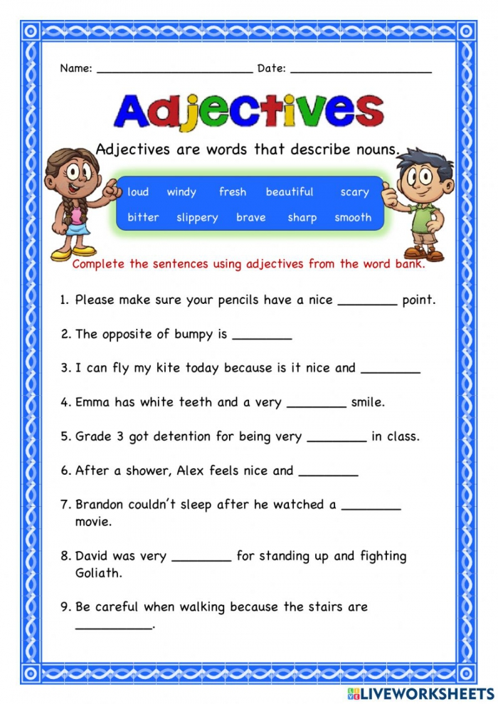 Adjectives Online Exercise For