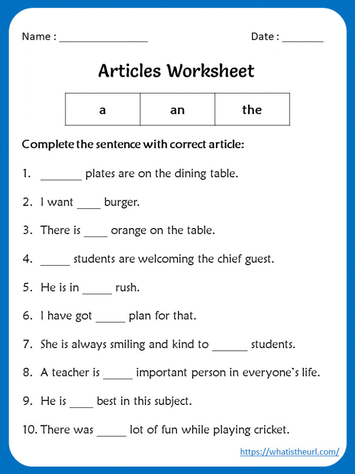 Articles Worksheets For Th Grade
