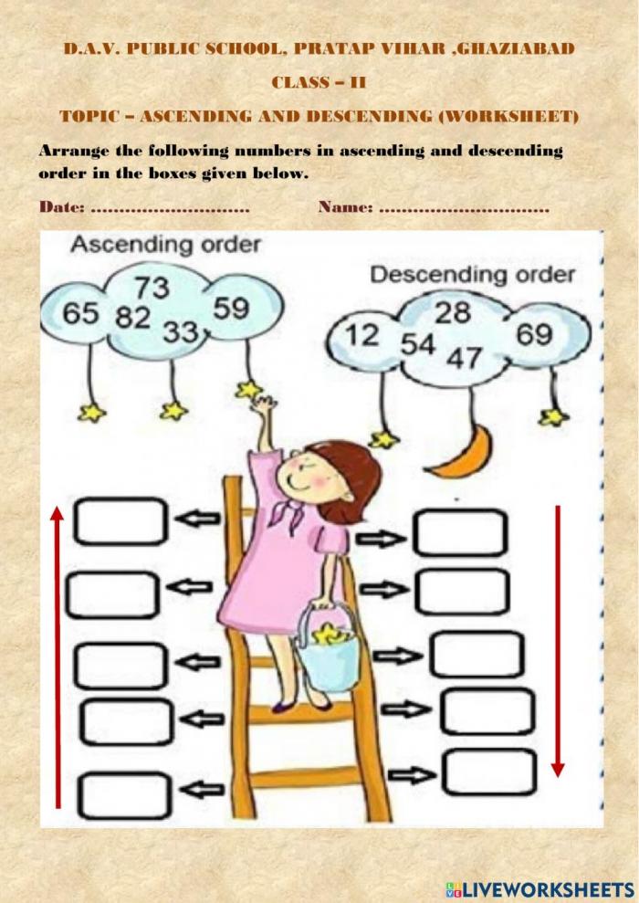 Ascending And Descending Order Online Worksheet For Grade