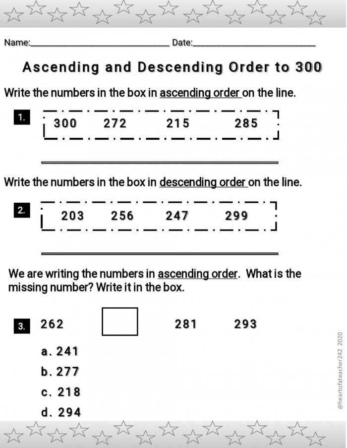 Ascending And Descending Order To Worksheet