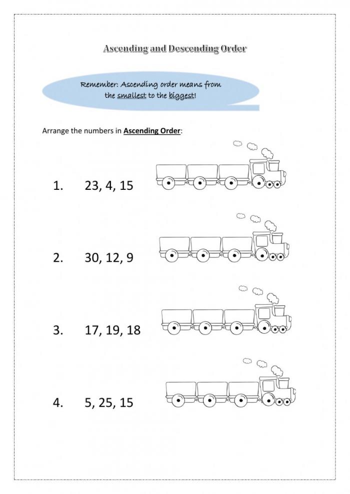 Ascending And Descending Order Worksheet