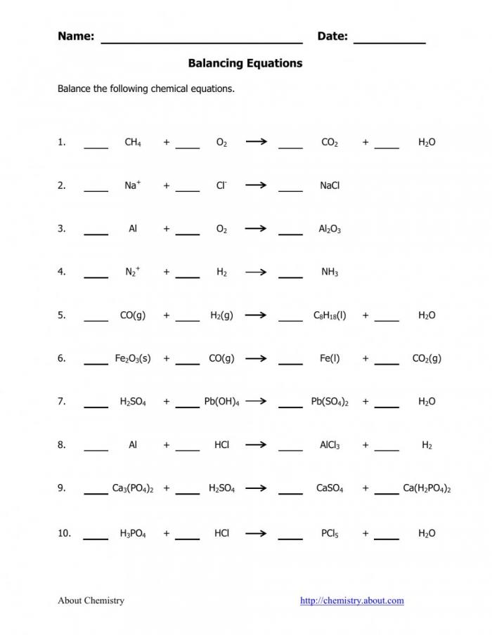 Balancing Chemical Equation Worksheet