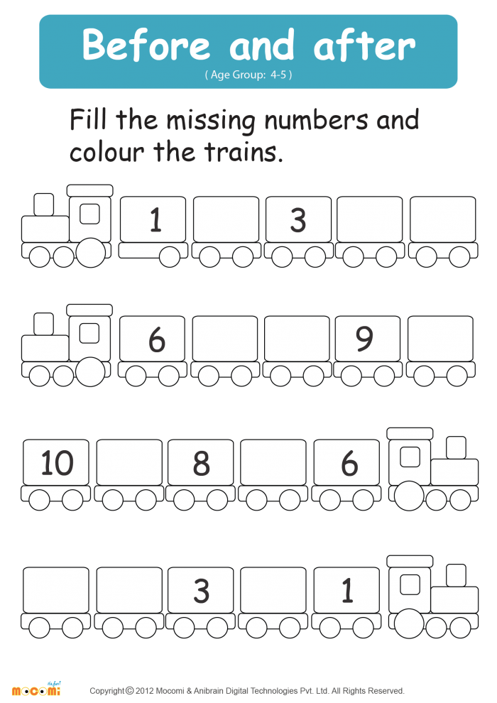 Before And After Numbers Worksheet