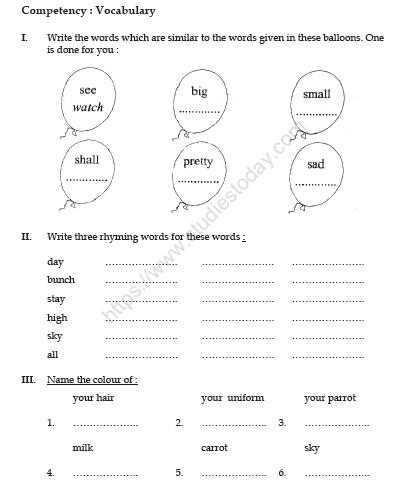 Cbse Class English The Balloon Man Worksheet Practice Worksheet