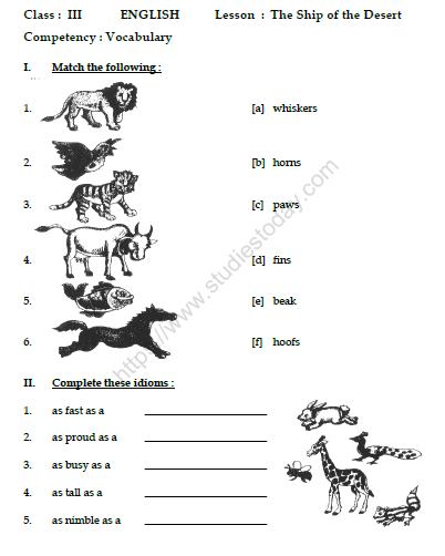 Cbse Class English The Ship Of The Desert Worksheet Practice