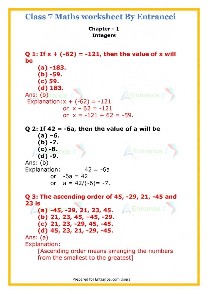 Cbse Class Maths Worksheet For Chapter