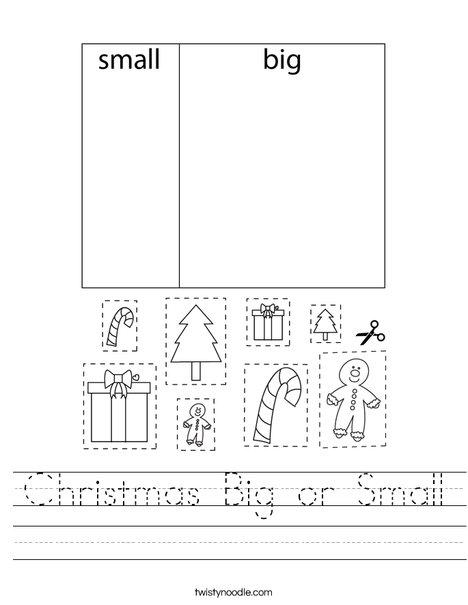 Christmas Big Or Small Worksheet