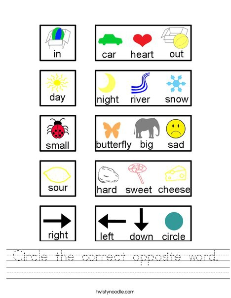 Circle The Correct Opposite Word Worksheet