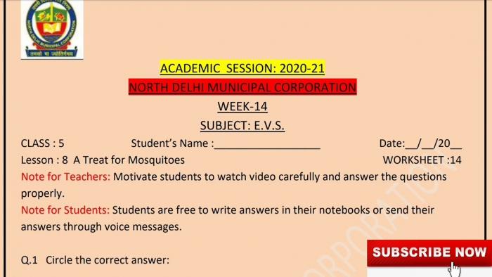 Class Evs Week English Medium Worksheet Solutions Topic A
