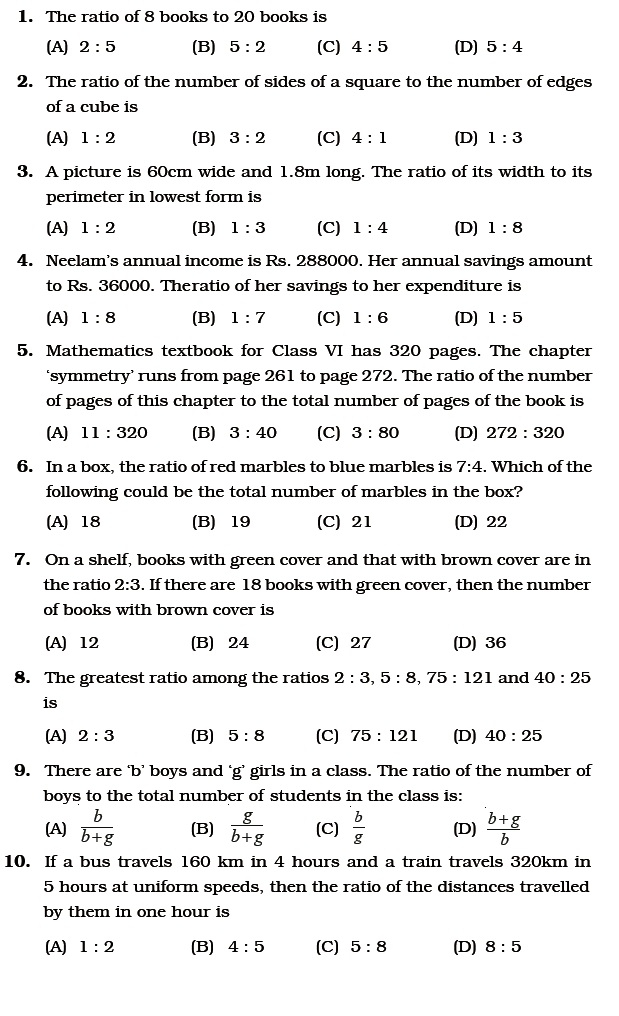 Class Important Questions For Maths Ratio And Proportion