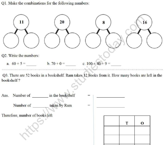 Class Mathematics Printable Worksheet Set D