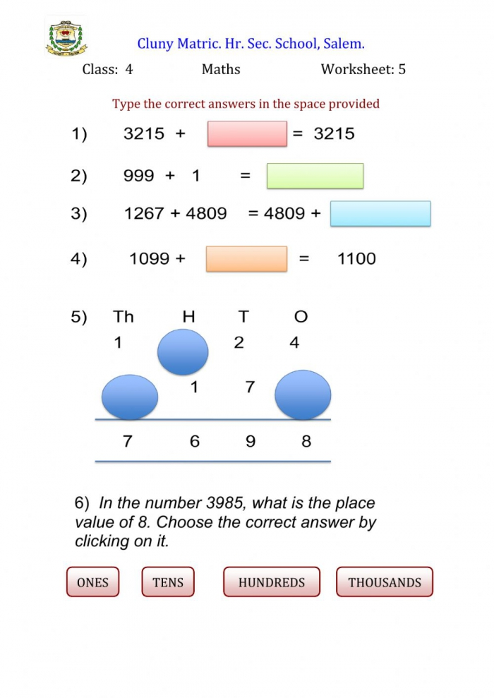 Maths Worksheets For Class 4