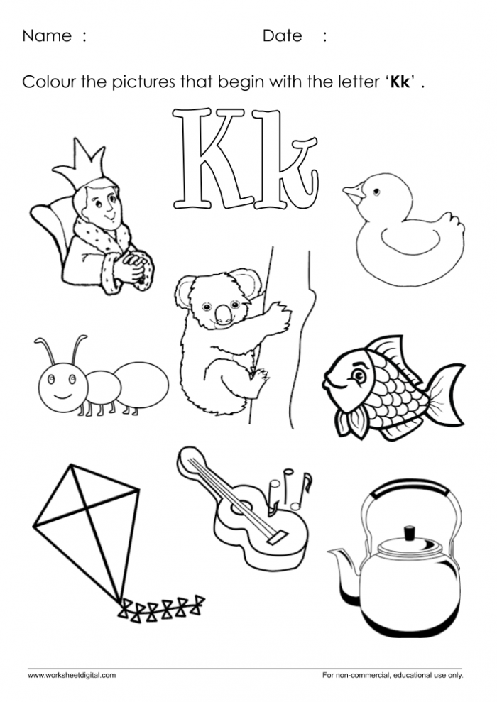 Color The Pictures Which Start With Letter K Worksheet