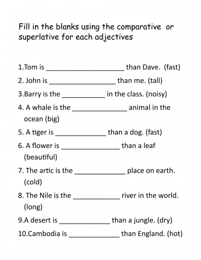 Comparatives And Superlatives Online Exercise For