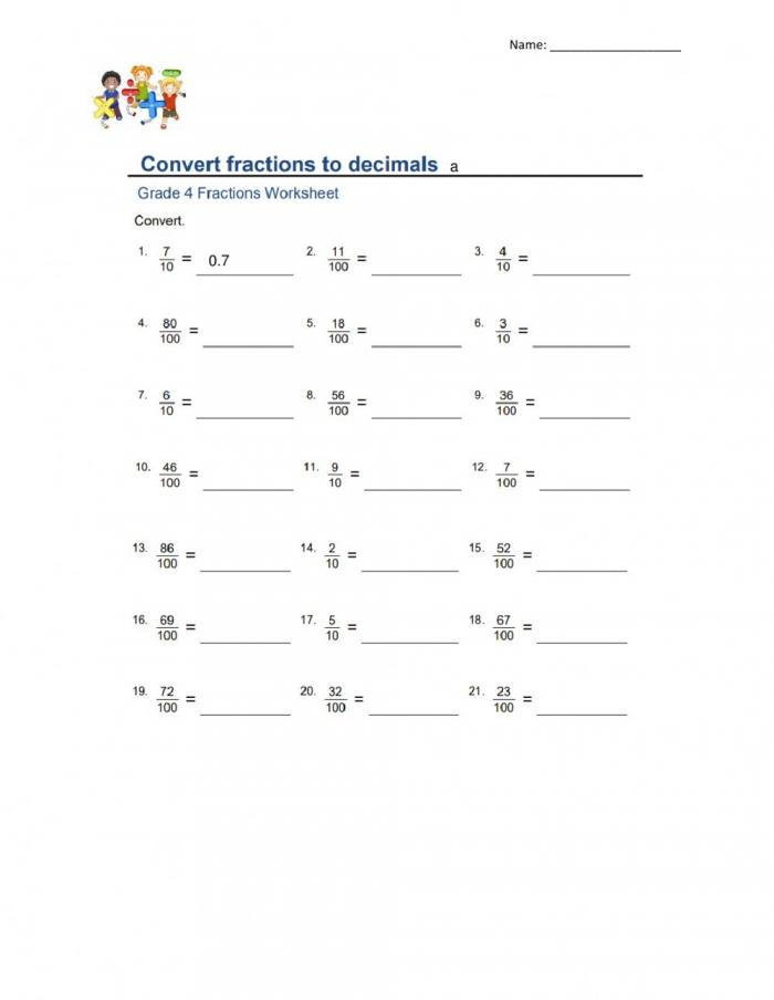 Convert Fractions To Decimals Interactive Worksheet