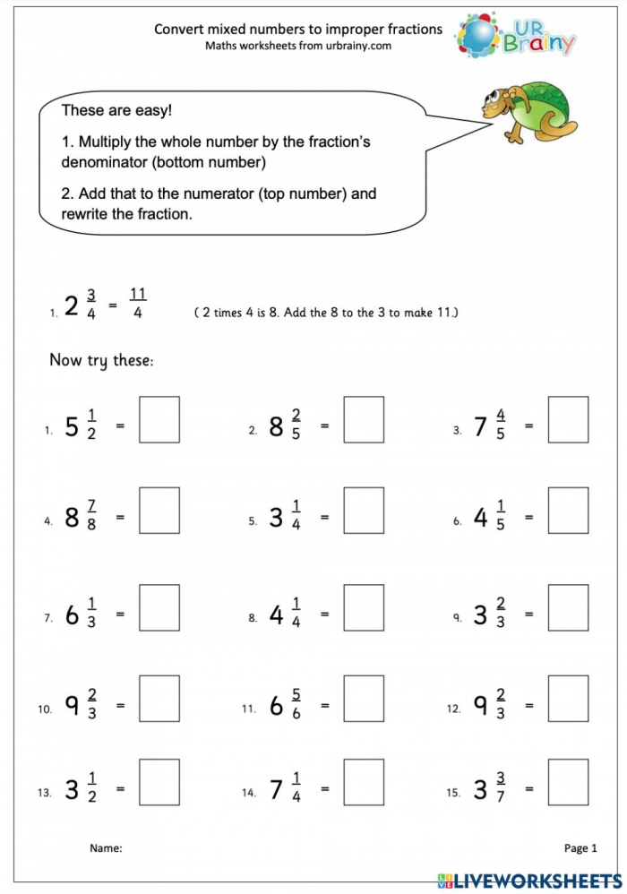 Converting Mixed Numbers To Improper Fraction Worksheet