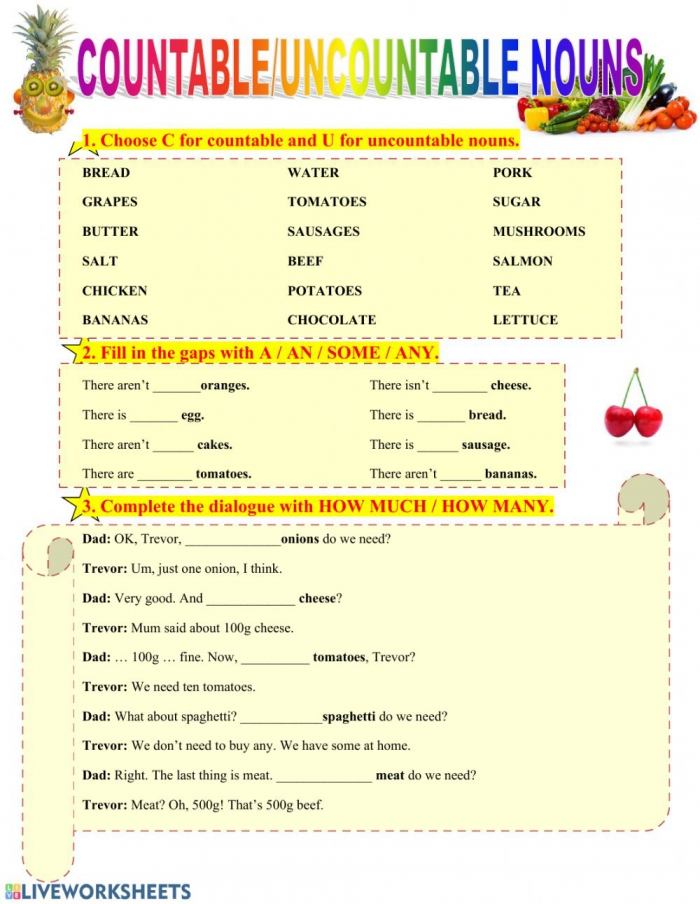 Countable And Uncountable Nouns Online Worksheet