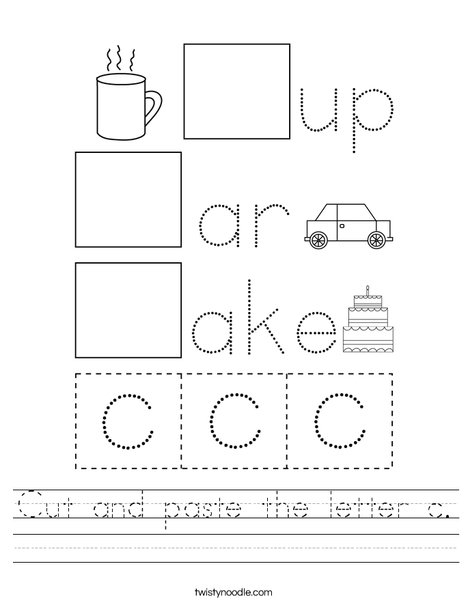 Cut And Paste The Letter C Worksheet