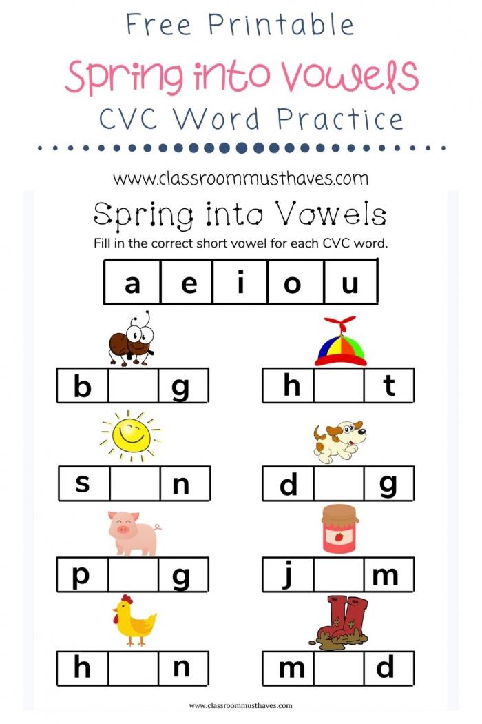 Cvc Spring Vowel Worksheet