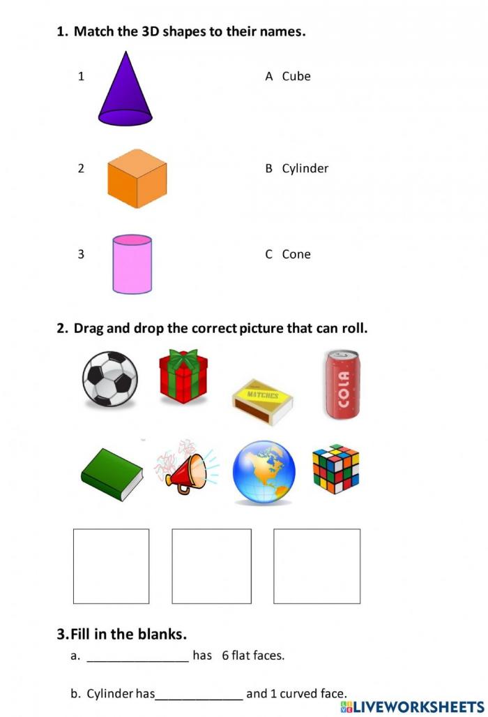 D Shapes Online Pdf Worksheet For