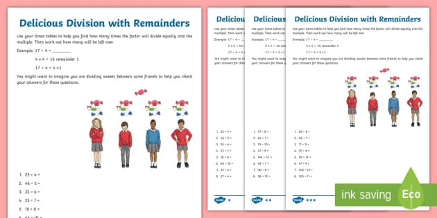 Delicious Division With Remainders Worksheet