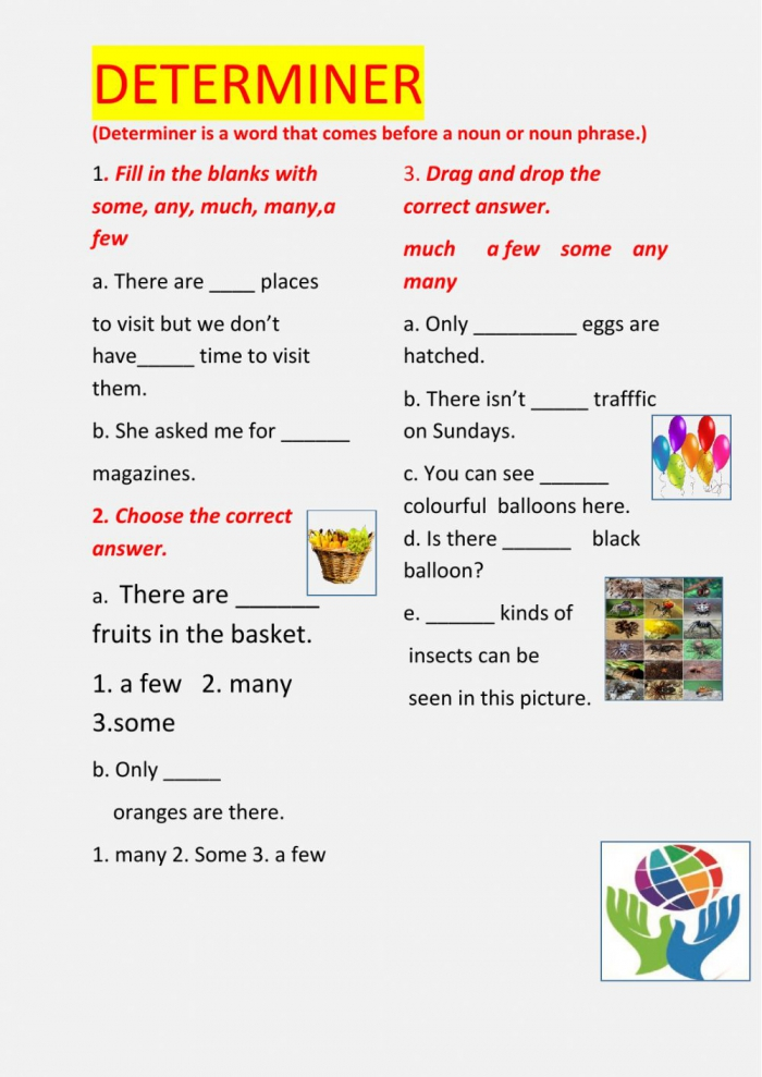 Determiners Online Exercise For Grade