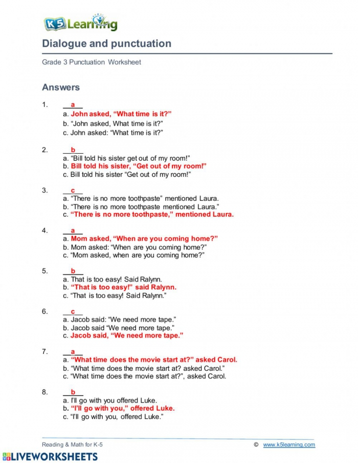 Dialogue And Punctuation Worksheet