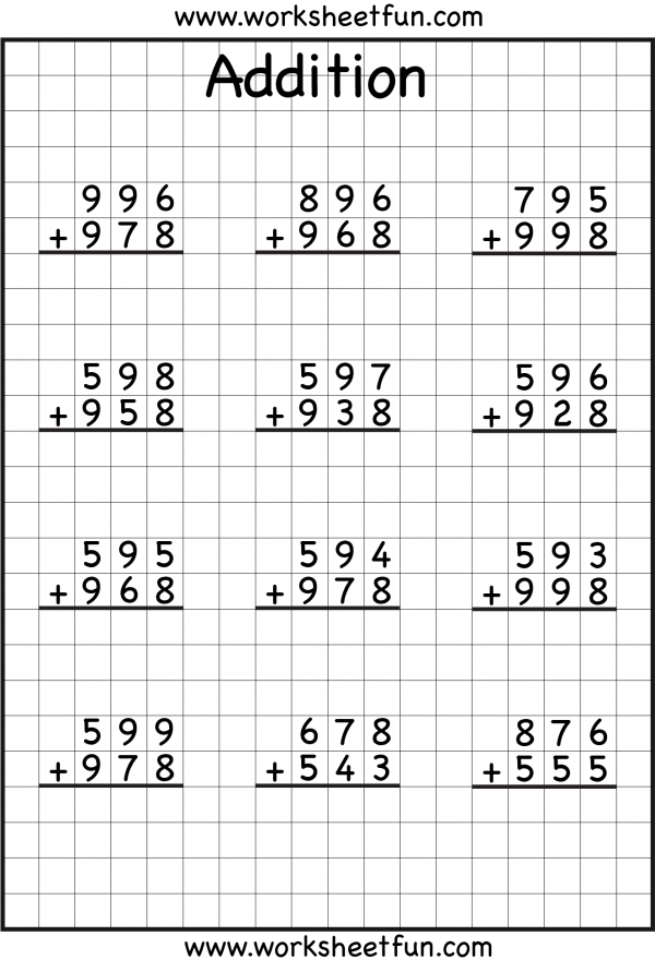 Digit Addition With Regrouping Carrying Worksheets Free