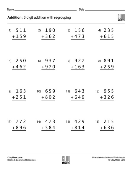 Digit Addition Worksheet With Regrouping Set Childrens