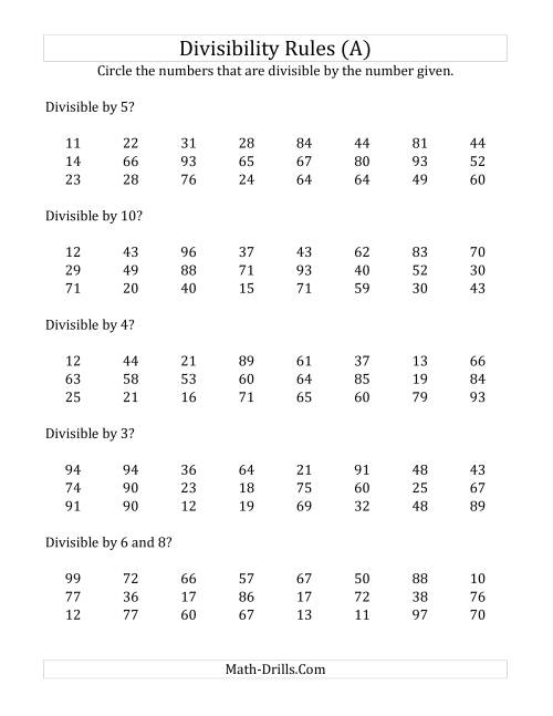 Divisibility Rules For Numbers From To Digit Numbers A