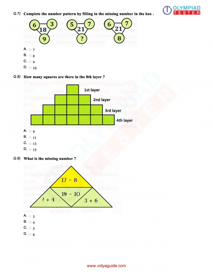 Download Grade Maths Olympiad Sample Papers As Pdf Worksheets On