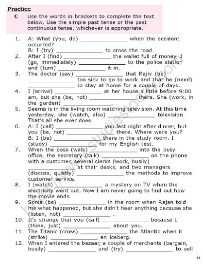 English Tenses Exercises With Answers Pdf
