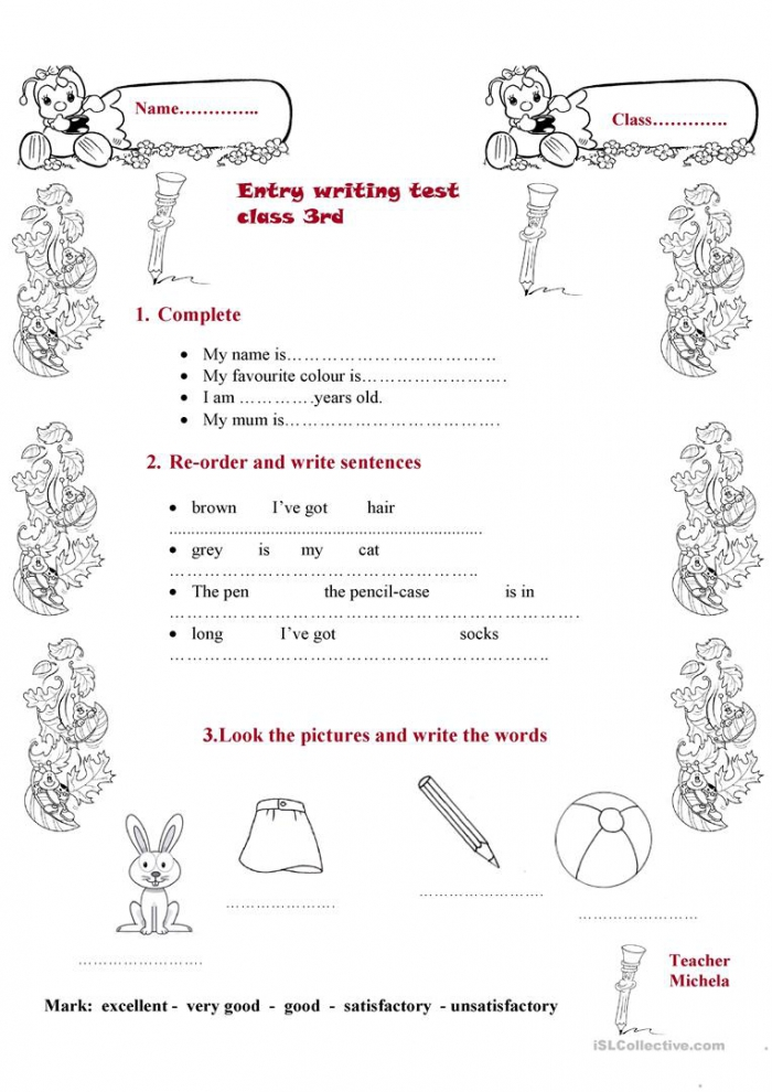 Entry Writing Test