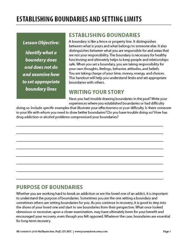 Establishing Boundaries And Setting Limits Cod Worksheet